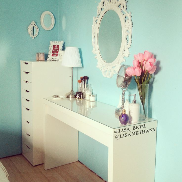 New vanity! ikea Malm Dressing Table, ikea Alex 9 Drawer Unit, ikea Ung Drill Mirror (painted white), ikea Årstid Table Lamp