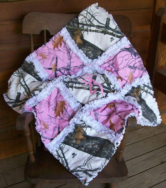 Camo Pink Deer Buck Head Baby Girl Rag Quilt Blanket