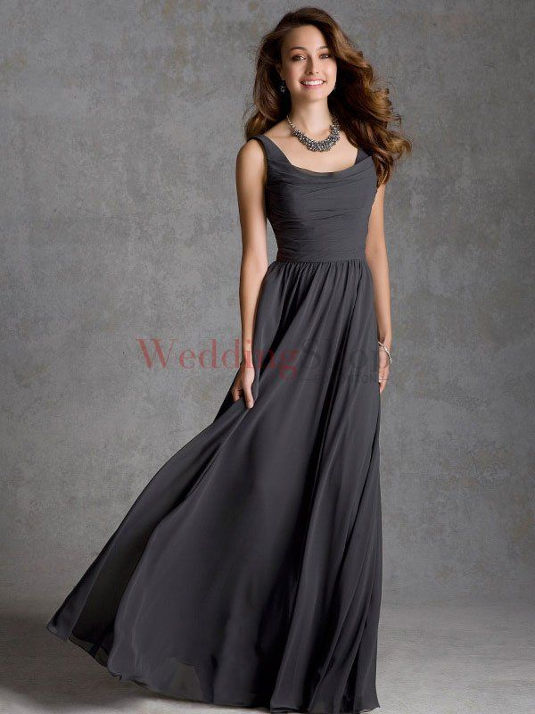 A Line Square Floor Length Chiffon Evening Wedding Party Dress