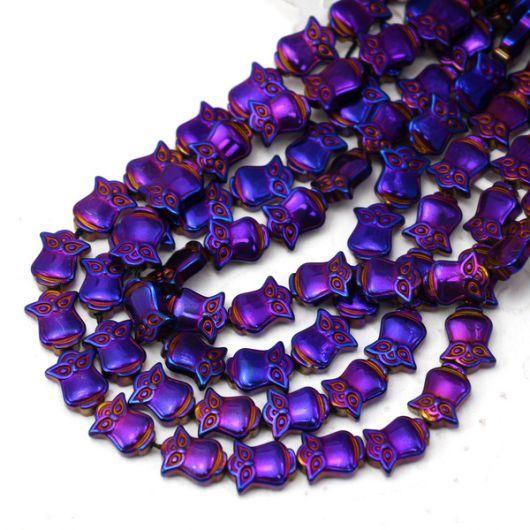 Hematyt purpurowy sówka  10mm