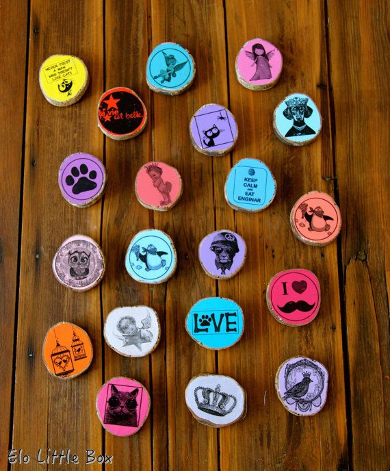 Magnet aimant coloré tranche de bois d'olivier par Elolittlebox