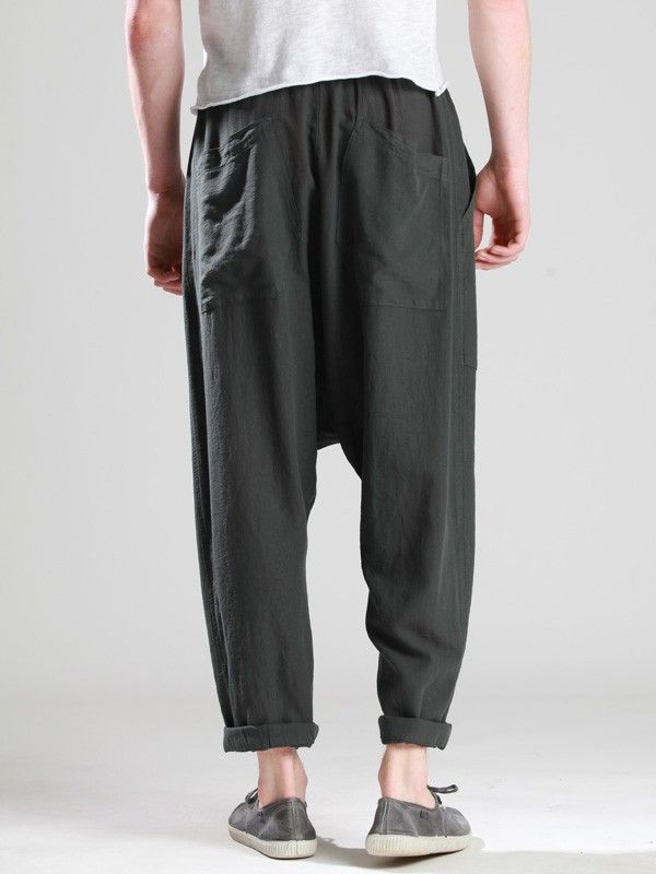 LOW CROTCH TROUSERS WOVEN IN RUSTIC COTTON-CUPRO WITH ELASTIC WAIST - JACKETS, BLAZERS, SHIRTS, TROUSERS, JERSEY, KNITWEAR, ACCESORIES - Man -