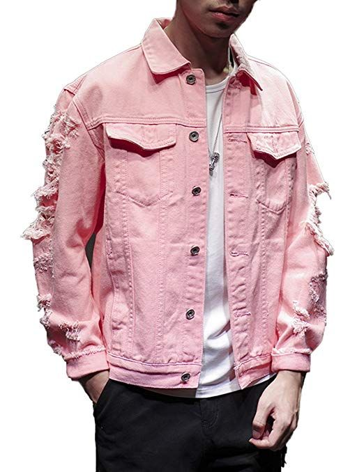 990e31c84eb9 DSDZ Fashion Men s Motorcycle Vintage Ripped Denim Trucker Jean Jacket Pink  US M(Tag 2XL)