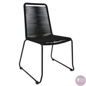 Sitting Pretty Furniture - Crusoe Rope Chair - Black (Stackable)