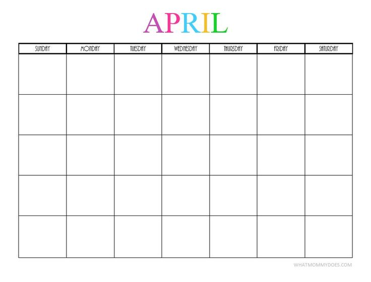This BLANK APRIL CALENDAR is perfect for meal planning and scheduling activities!! | Free Printable Blank Monthly Calendars - 2017, 2018, 2019, 2020+ -