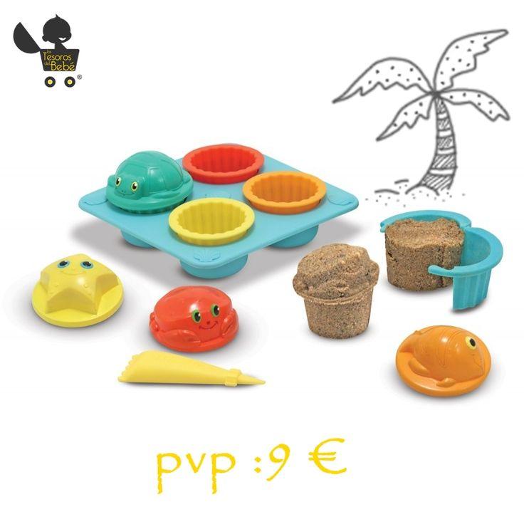 #Jugueteseducativos en nuestra sección #AprendeJugando. ¡Prepara unas deliciosas #cupcakes con estos moldes para jugar en la arena!