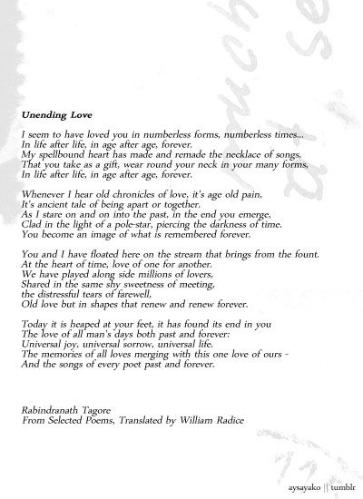 Unending Love by Rabindranath Tagore. Follow this blog for quotes and other stuff. =)