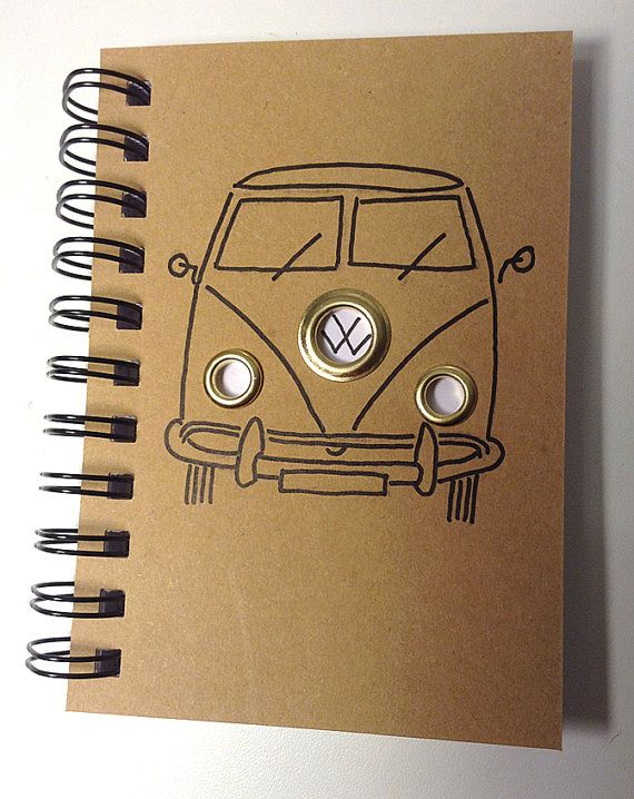 Personalised VW Camper van illustrated cover A6 notebook with chunky brass eyelets