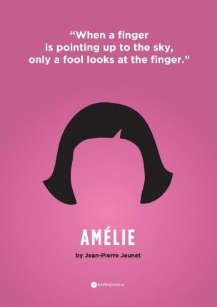 when a finger is pointing up to the sky, only a fool looks at the finger // Amelie