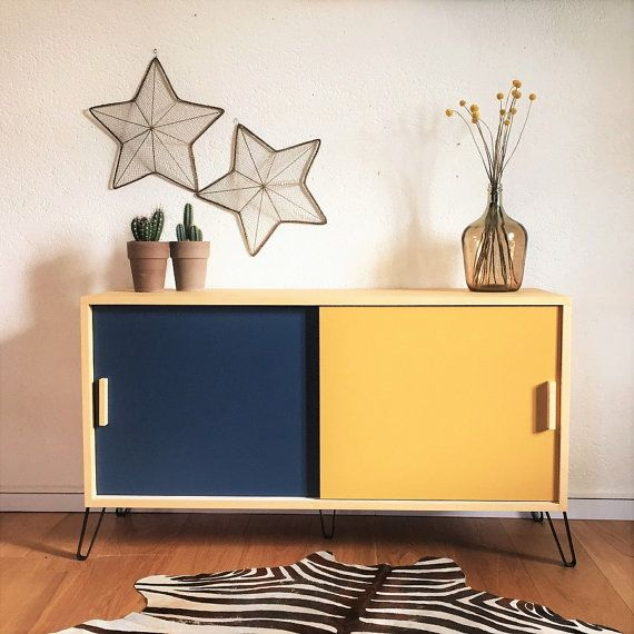 Mid century Sideboard, tv stand, Vintage & Scandinavian style, dresser, wood and metal, mustard yellow and blue colors, model Suzelle