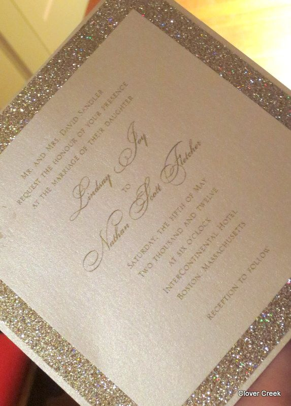 Champagne Sparkly Wedding Invitations. Shimmer And Sparkle!