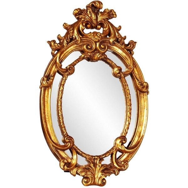 "Howard Elliott Cartwell 14"" x 23"" Oval Wall Mirror ($85) ❤ liked on Polyvore featuring home, home decor, mirrors, ornate mirror, oval mirror, howard elliott mirror, ornate wall mirror and gold leaf mirror"