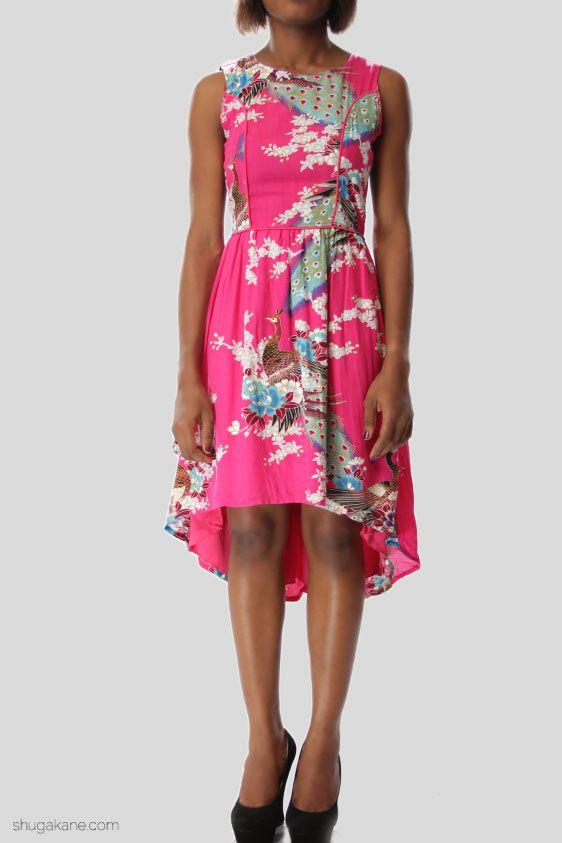 Hi-Lo Oriental Print Midi Dress
