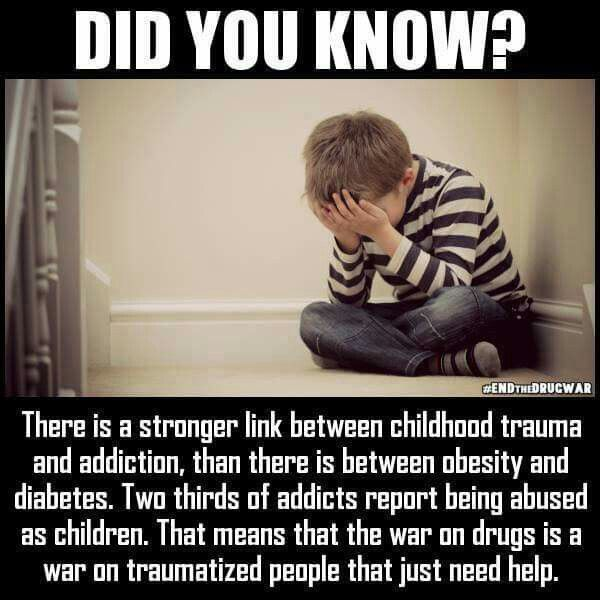 Did you know? There is a stronger link between childhood trauma and addiction, than there is between obesity and diabetes. Two thirds of addicts report being abused as children. That means that the war on drugs is a war on traumatized people that just need help.