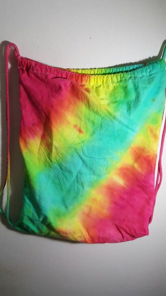Drawstring backpack Festival Bag Tie Dye by HippyNotHipster