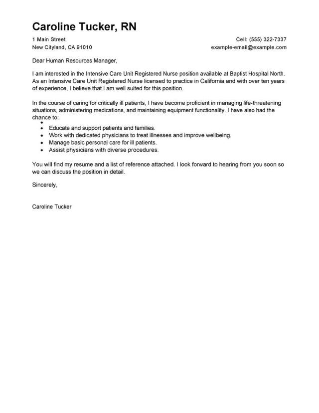 27 Nursing Resume Cover Letter Clintensive Care Unit Registered Nurse Healthcare Letters For