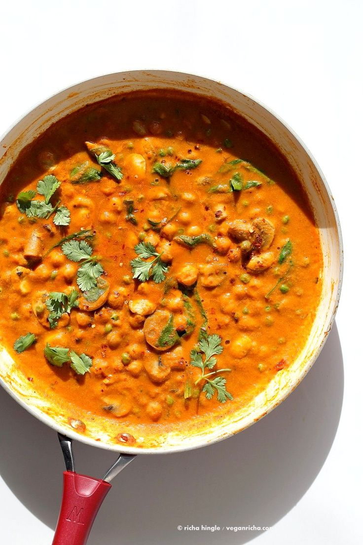 Mushroom Matar Masala. Mushrooms and Peas in creamy tomato sauce. Easy Mushroom Masala Recipe. Vegan Gluten-free Soy-free. | VeganRicha.com