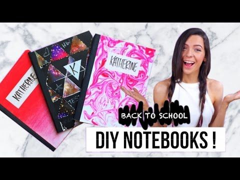 Coolest Tumblr Notebooks!! Marble with shaving cream, chalk ombre and a geometric one with a twist :)