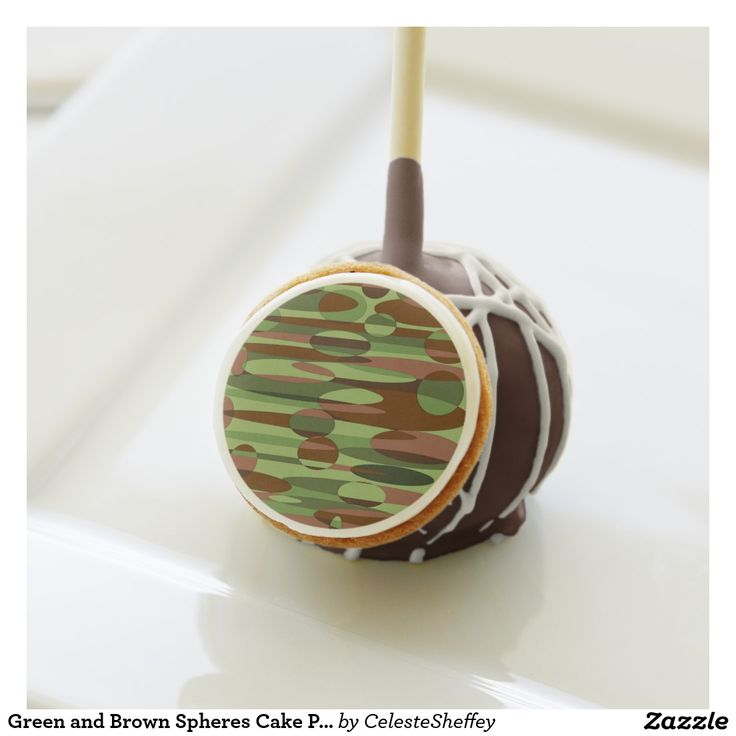 Green and Brown Spheres Cake Pops