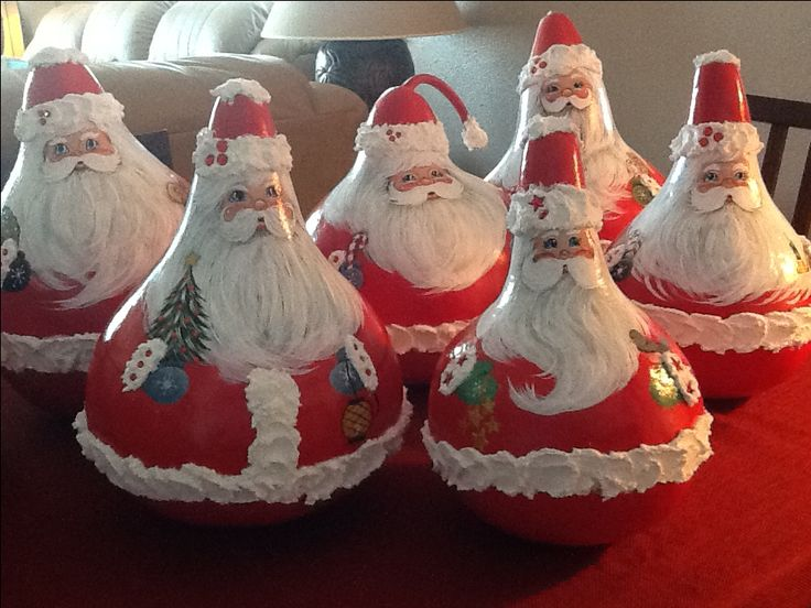 Gourds - Hand Painted Santa's