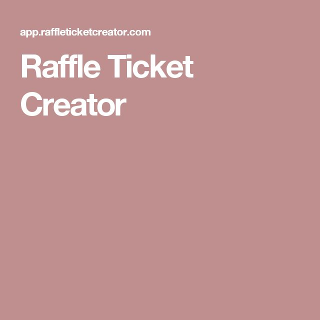 Raffle Ticket Creator  Online Ticket Creator
