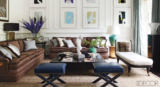 Pops of color look great with these traditional brown sofas. Learn more about how to Tone Down the Brown at www.swatchpop.com