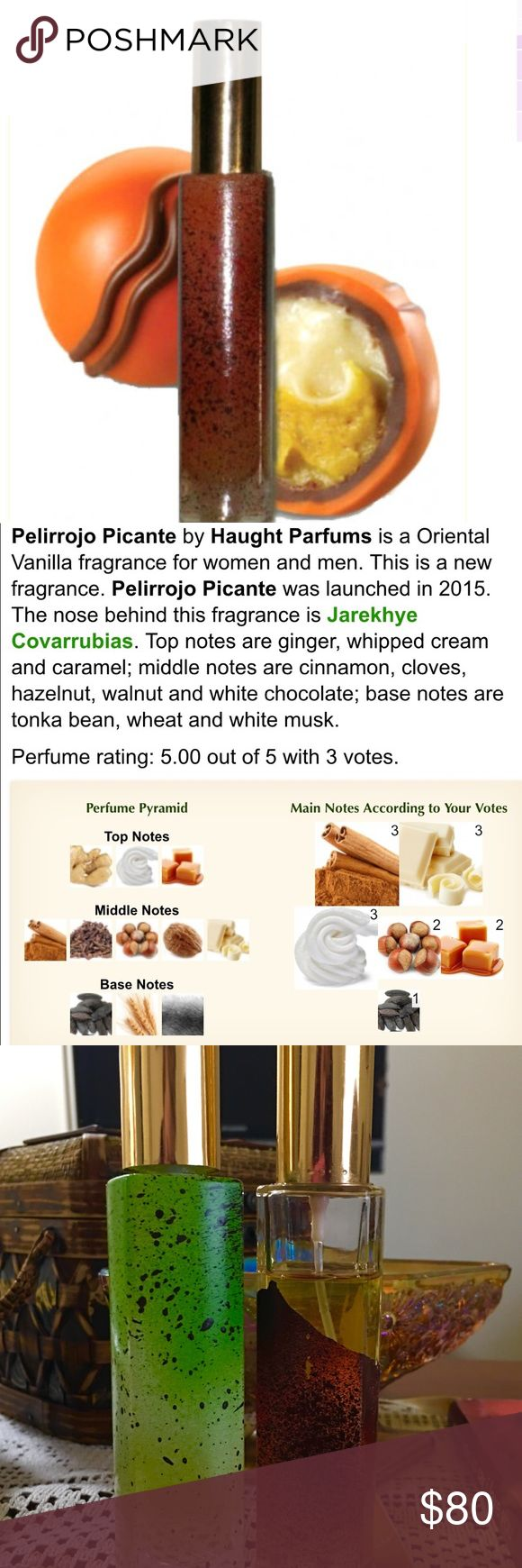 Pelirrojo Picante (chocolate) by Haught Parfums I also still have Jazmine Tease by Haught Parfums Limited Ed Oriental Chocolate Vanilla fragrance.  I included a full description in picture above. It has some wear on the outside paint but is still 85% full and good to go. Very High End. The makers of Chocolate Wasted. Might sell as pair at discounted price. Haught Parfum Other