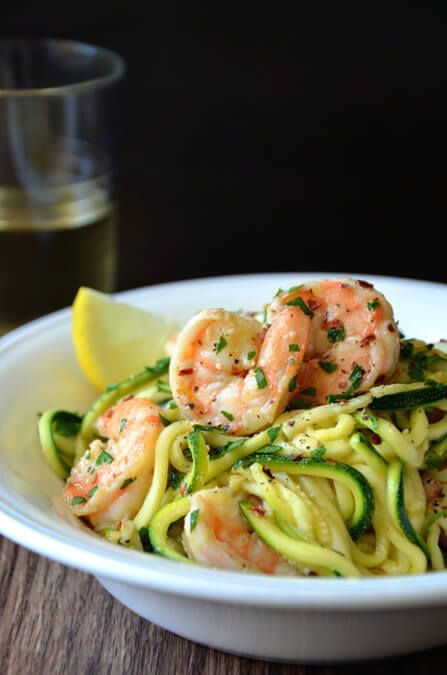 Enjoy a lighter take on a comfort food favorite with a 30-minute recipe for healthy shrimp scampi with zucchini noodles.  For the first 30 days sub chicken broth for the wine.