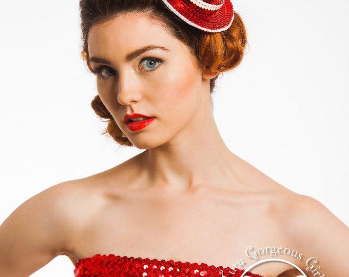 Navidad bastón de caramelo Mini sombrero de copa... Menta de rojo y blanco diadema, Fascinator... Danza Recital Prop...  CAÑA DE CANDY CRUSH