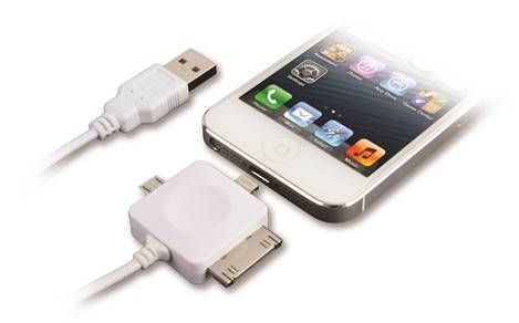 3 In1 Data and Charging Cable with Lightning Connector..  Compact and convenient, this high speed 2.0 USB cable provides simultaneous charging and data transfer.  Featuring a 3 in 1 design with a Micro USB, 30Pin dock connector and 8Pin lightning connector, the cable is compatible with iPhone 5, iPhone 4 series, iPods, iPads, Blackberry and most other leading handsets.