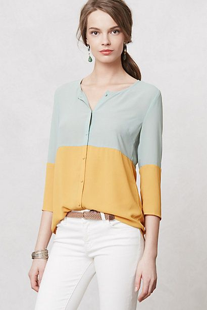 Colorblocked Ione Buttondown #anthropologie
