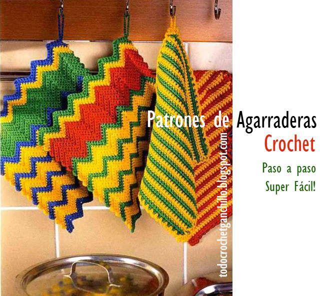 Todo crochet: Agarraderas super fáciles para tejer al crochet