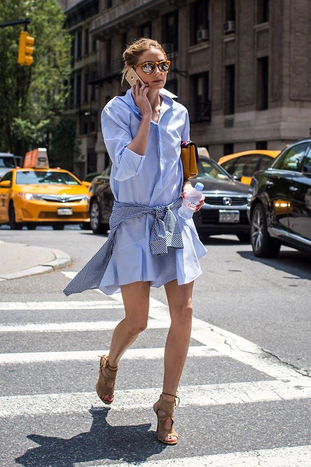 Olivia Palermo // mirrored sunglasses, blue shirtdress & nude suede sandals in NYC #style #fashion #streetstyle