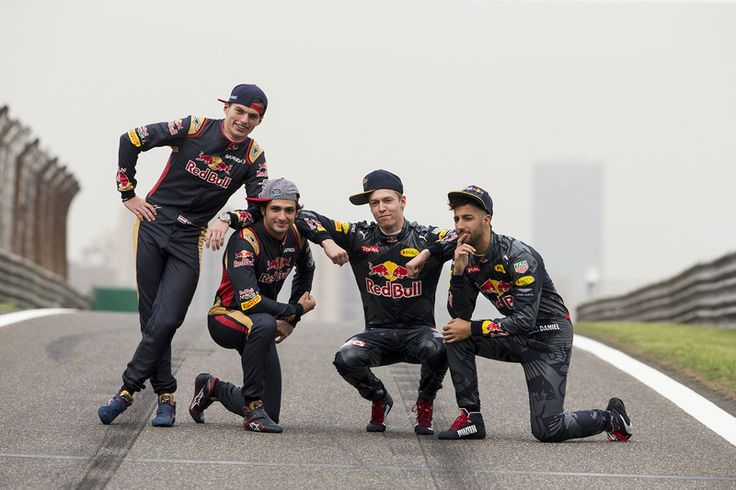 Max Verstappen, Scuderia Toro Rosso and Carlos Sainz Jr., Scuderia Toro Rosso, Daniil Kvyat, Red Bull Racing and Daniel Ricciardo, Red Bull Racing. 2016