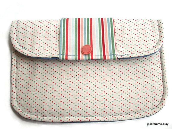 Bridal Clutch Soft Fabric Purse Pastel Pin Dots and Stripes on