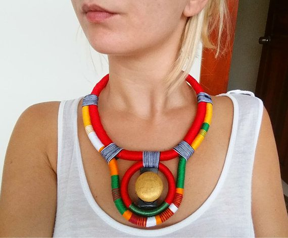 SUN Ethnic necklace Rope Necklace Thread by UtopiaManufactory