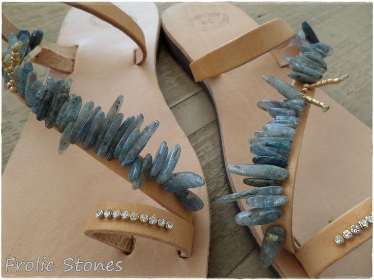 Hand made sandals, semi precious stones