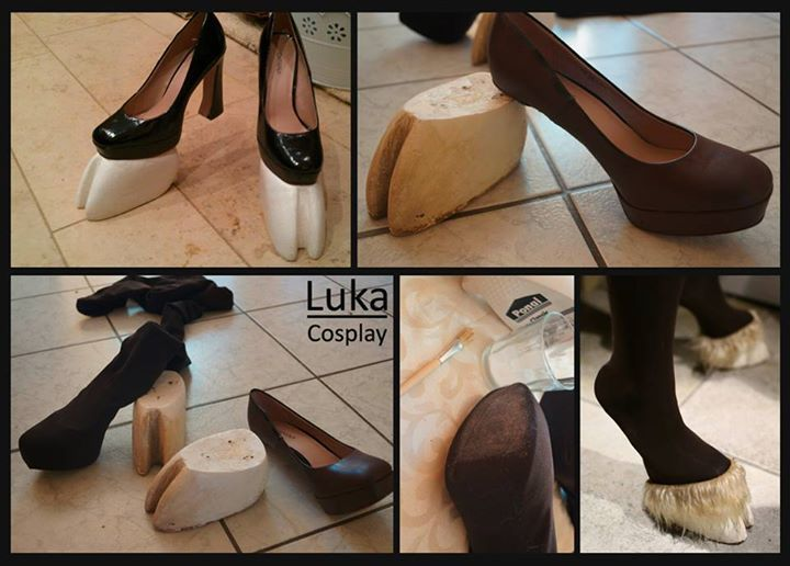 Cut the hooves out of wood & cut the heel off the shoes.I painted my shoes matte brown with aerosol lacquer. Pull the tights over the shoe & put some glue at the spots of the tights where the screws will go, so they don't run. Pre-drill holes in hoof and shoe, use 3 screws (9-11cm) to bolt on the shoe to the hoof. To make the hooves look more natural, you can paint them.
