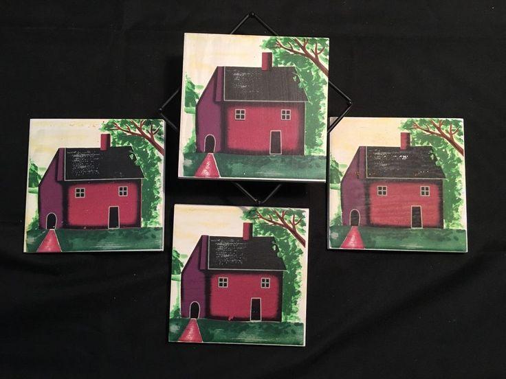 Drink Coasters – Vintage Tile with Cork Bottom – Farm House Design with Rack in Home & Garden, Kitchen, Dining, Bar, Barware   eBay!