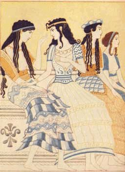 Minoan Fresco of Women    Inspiration for the Mycenaean Greeks for centuries. Style of hair is similar to Egypt whom the Minoans copied many art trends.