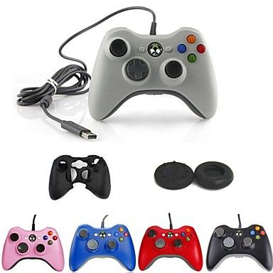 USB Wired Controller + Button Protector + Silicone Case for Microsoft XBOX 360 – USD $ 18.99