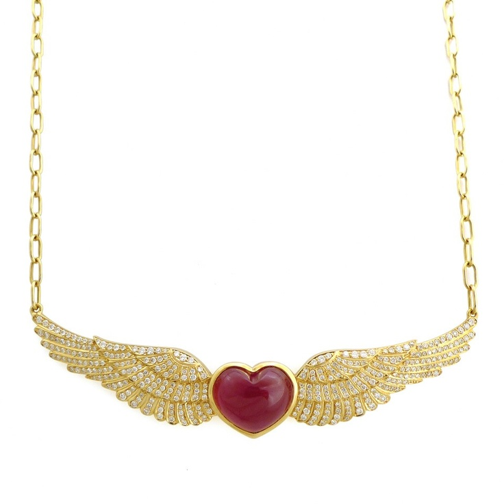 Necklace- Stolen Heart Diamond and Ruby Wing PendantCabochon Ruby, Diamonds Jewelry, Gold Pendants, Diamonds Wings, Clothing, Adele'S Labs, Wings Pendants, Center Stones, Heart Diamonds
