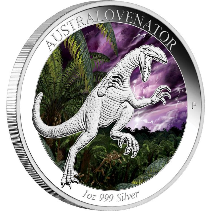 Australian Age of Dinosaurs – Australovenator 2014 1oz Silver Proof Coloured Coin | The Australovenator is the first coin in this exciting new five-coin series that features Australian dinosaurs which existed during from the Cretaceous Period more than 100 million years ago