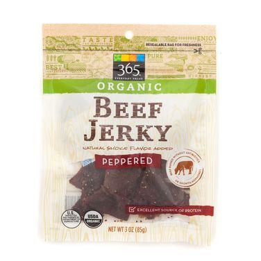 365 Everyday Value Organic Beef Jerky Peppered #jerky #snack #healthy http://greatist.com/eat/best-beef-jerky