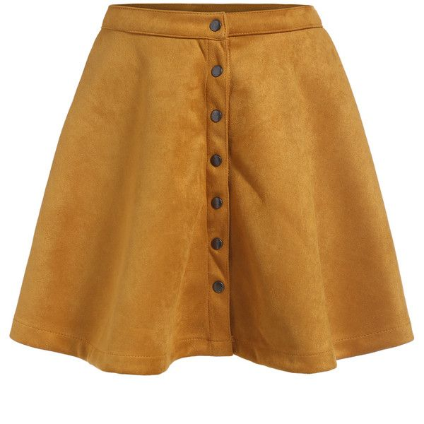 Single-breasted Flare Yellow Skirt (195 ARS) ❤ liked on Polyvore featuring skirts, bottoms, yellow, short brown skirt, flare skirt, short flared skirts, yellow knee length skirt and flared hem skirt