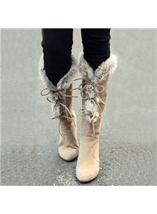 Stylish Feather Lace-Up Knee High Boots