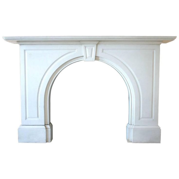 Antique Victorian Statuary White Marble Fireplace