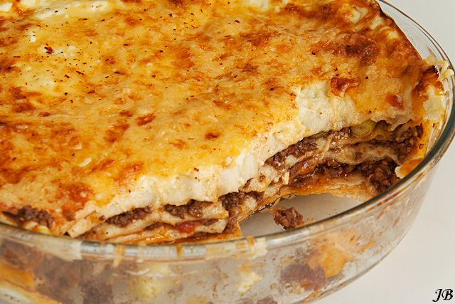 Mexican lasagne, dutch written recipe