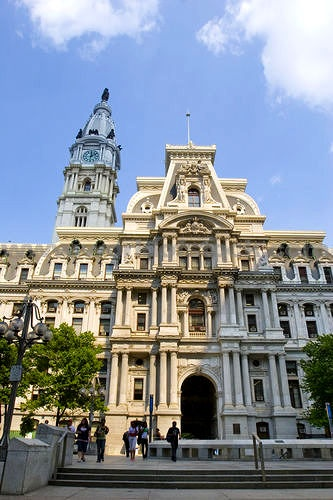 Located in Philadelphia Pennsylvania. This French Second Empire Architecture Of The Granite Philadelphia City Hall And Clock Tower With Its Statue Of William Penn is a marvelous wonder and a tribute to architecture