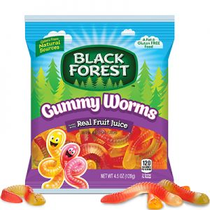 A bulk bag of Black Forest Gummy Worms.  Made with real fruit juice these gummy worms that are a mix of 5 flavours including Apple, Cherry, Lemon, Orange and Pineapple Juice.